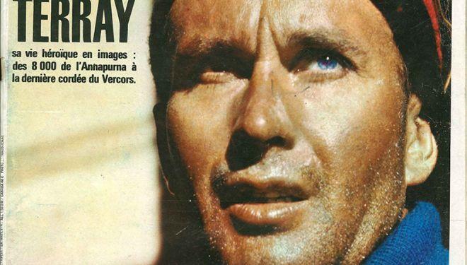Lionel Terray en la portada de Paris Match (2 de octubre 1965) que le dedicó un reportaje tras fallecer escalando en Vercors el 19 de septiembre de aquel año