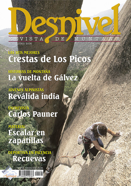 Portada de la revista Desnivel nº238. Jesús Gálvez en la MCED