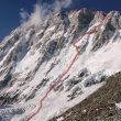 Vía seguida por Ueli Steck en la Suroeste del Shisha Pangma  (www.himalayanspeed.com)