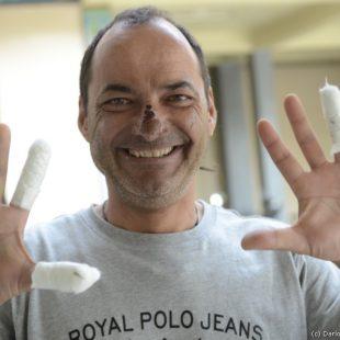 Manuel González Lolo féliz en Kathmandu