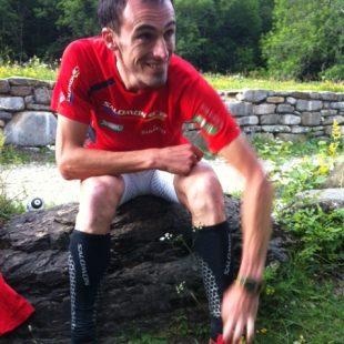 Iker Carrera tras lograr el récord de Los tres grandes del Pirineo  (Salomon)