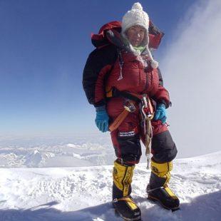 Cleo Weidlich en la cima del Kangchenjunga