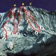 1. Ruta Británica. 2. Intento Lafaille/Beghin. 3. Japonesa. 4. Polaca. 5. Española  (www.climbandmore.com)