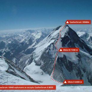 Gasherbrum 1 con la ruta del Corredor de los Japoneses que ha logrado la expedición polaca para la primera invernal.  (Artur Hajzer)