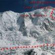 Panorámica de la cara norte del Annapurna con la Vía francesa marcada  (Ferran Latorre)