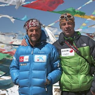 Ferran Latorre y Nacho Orviz en el CBA de la cara norte del Everest en 2012  (Nacho Orviz)
