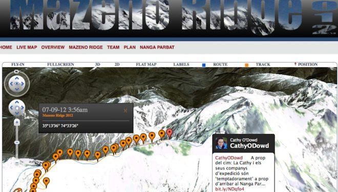 La  posición enviada por el Spot en la arista Mazeno el 10 de julio  (mazenoridge.com)