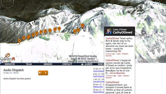 Pantallazo de la web de Cathy ODowd el 13 de julio con la situación del Spot en la arista y los últimos twitter  (mazenoridge.com)