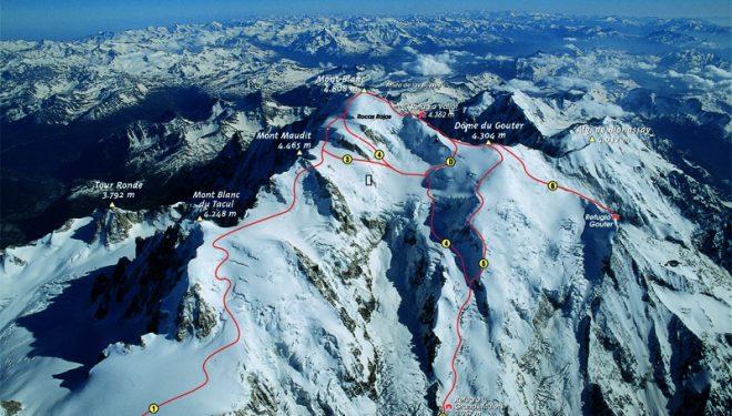 Rutas de ascenso al Mont Blanc donde se aprecia la Travesía de los Cuatromiles