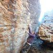 Markel Mendieta intentando Amandla 8B+ (Rocklands