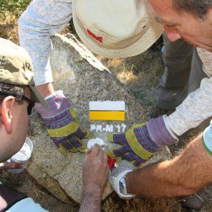 Las marcas llevan también el número de sendero correspondiente. Programa de Voluntarios de Recuperación de Senderos.  (Comité de senderos FMM)