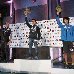 Podium de la octava prueba de la Copa del Mundo de Escalada en Inzai (Japón).  (Toni Roy)