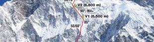 La Sur del Nuptse con la ruta francesa de 2008 hasta la arista. La ruta británica recorre el espolón de la derecha  (S Benoist /Desnivel 276)