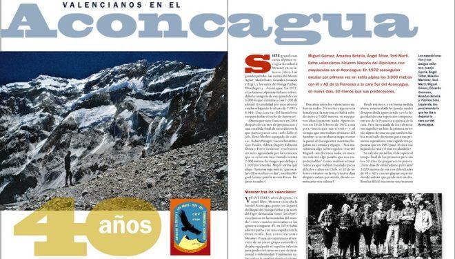 Apertura del artículo: 40 años de la Francesa en estilo alpino a la Sur del Aconcagua. Desnivel nº 316  (Ediciones Desnivel)