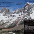 Líneas de las rutas abiertas por Oriol Baró y Jordi Corominas en el Cerro Norte y el Cerro Moyano (Patagonia)  (Col. O. Baró)