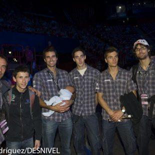Parte del equipo de nuestro país presente en los Campeonatos del Mundo Escalada 2012 celebrados en Paris. De izda a derecha: Tony Roy (seleccionador)