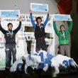 Podio masculino de la prueba de dificultad de Chamonix de la Copa del Mundo de Escalada 2012: 1º Sachi Amma JPN 2º Ramón Julian ESP 3º Sean McColl CAN  (©Gaetan Haugeard)