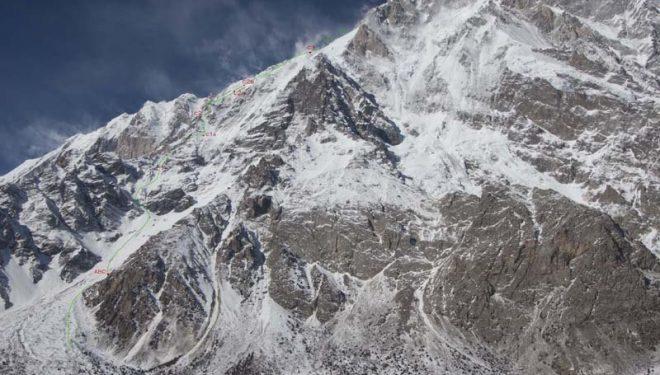 La ruta seguida por Mackiewicz y Klonowski al Nanga Parbat invernal
