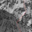 La línea de la ascensión en solitario de Samuel Johnson a la cara sureste del Mt. Hayes (Alaska)  (Samuel Johnson)