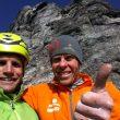 Roger Schaeli y Robert Jasper tras escalar la Ghilini-Piola a la cara norte del Eiger  (Col. R. Jasper)