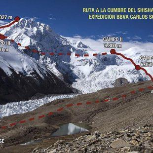 Shisha Pangma (8.027 m.) con la ruta que tiene prevista seguir Carlos Soria  (Expedición BBVA Carlos Soria-Shisha Pangma)