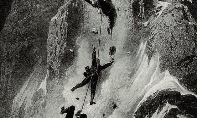 Grabado de la época que reconstruye el accidente ocurrido a Edward Whymper y sus compañeros durante el descenso del Cervino ó Matterhorn tras la primera ascensión (14 de julio de 1865)  ()