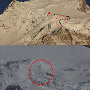 Lugar de la avalancha