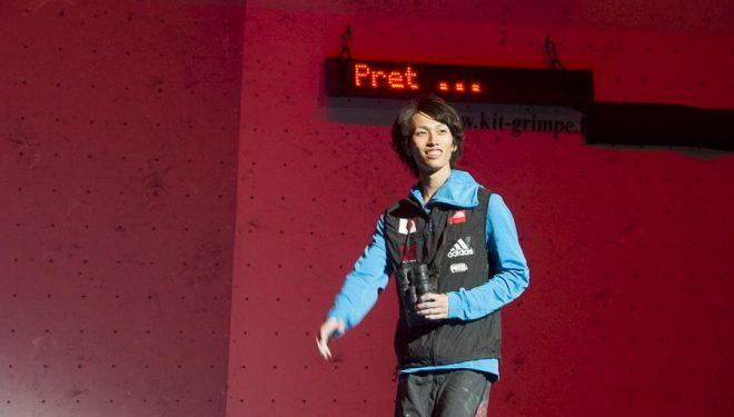El japonés Sachi Amma en la final dificultad masculina Campeonato Mundo Escalada 2012 Paris  ()