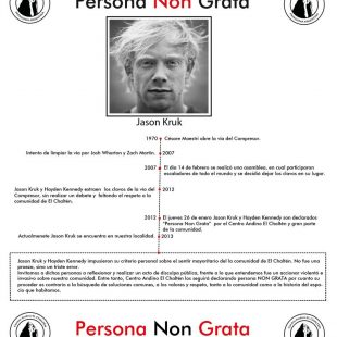 Cartel de Persona Non Grata del Centro Alpino El Chaltén dedicado a Jason Kruk (Centro Alpino El Chaltén)
