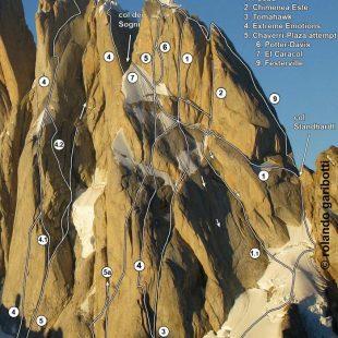 Ruta de la cara sur de la Aguja Standhardt y de la Torre Egger (Patagonia) (Rolando Garibotti / PataClimb.com)