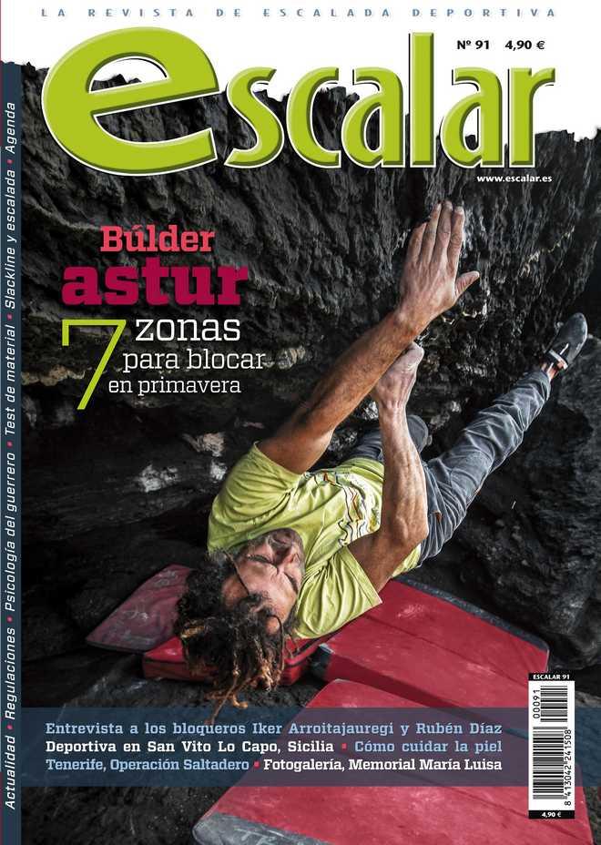 Portada de la revista Escalar nº 91. Especial Búlder Astur. [WEB]  ()