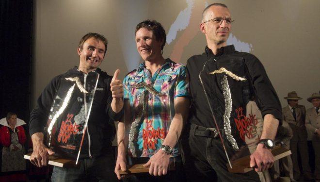 Los alpinistas premiados con el Piolets DOr 2014. De izquierda a derecha: Ueli Steck
