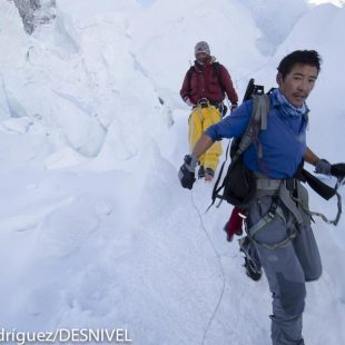 Sherpas descendiendo al campo base del Everest por la Cascada de Hielo del glaciar de Khumbu tras dejar su carga en el campo 1 ó 2. (2011)  ((c) Darío Rodríguez/DESNIVEL)