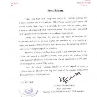 Comunicado Ministerio Turismo de Nepal tras reunión delegación gobierno con alpinistas y sherpas en el campo base del Everest el 24 abril 2014.  ()