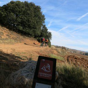 Dos ciclistas en el Camino del Cid cerca de la localidad alcarreña de Mandallona.  (Dioni Serrano)