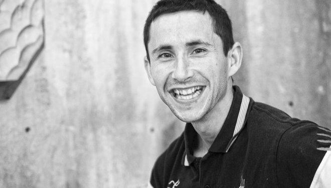 Ramón Julián Puigblanque Ramonet en la primera prueba Copa España Escalada Dificultad 2014 celebrada en Zaragoza