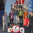 Podio femenino de la Copa de España de Escalada en Bloque 2014 en Reus: 1ª Maud Ansade