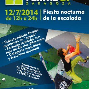 Cartel de la fiesta de la escalada nocturna en :Climbat Zaragoza