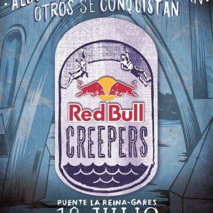 Cartel de la competición de psicobloc Redbull Creepers en el Puente de La Reina