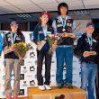 Podio de la Copa del Mundo de Dificultad 2014 de Briançon. De izquierda a derecha: Romain Desgranges