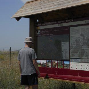 Un senderista consulta un panel del Camino Natural que une Cáceres y Badajoz.  (Dioni Serrano)