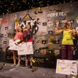 Pódium del adidas Rockstars 2014.  Akiyo Noguchi(ganadora) Mina Markovic(segunda) y Petra Klingler(tercera).  (adidas)