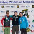 Pódium masculino de la prueba de Mokpo (Corea) de la Copa del Mundo de Escalada de Dificultad 2014: Jakob Schubert (1º)