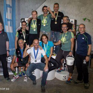 Foto de familia en el pódium del Campeonato de España de Paraescalada 2014 (Barcelona)  (I. Tarrazona / Top30)