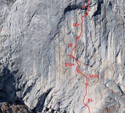 Croquis de Wetterbock a la cara este del Göll (Alpes austriacos)  (Col. Alex Huber)
