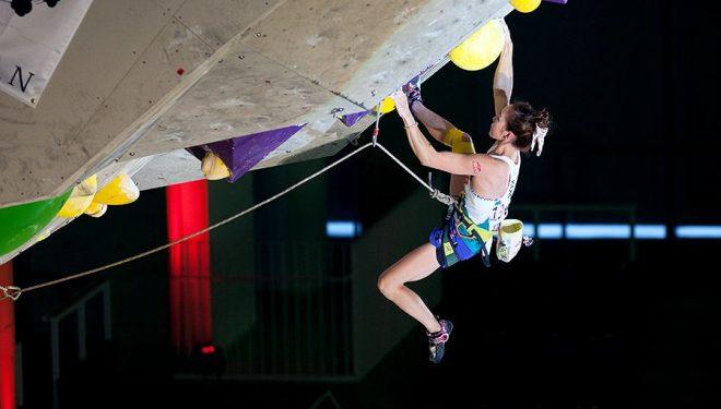 Jain Kim en la Copa del Mundo de Escalada de Dificultad 2014 en Inzai