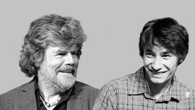 Reinhold Messner y David Lama (Foto composición) en el IMS 2014.  (©Darío Rodríguez / DESNIVEL)