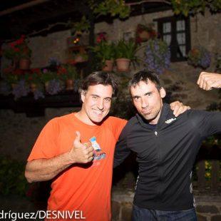 Carlos Suárez y Luis Alberto Hernando en el Chalet Real –próximo al pie del Espolón de los Franceses- 2014 (Darío Rodríguez / Desnivel)