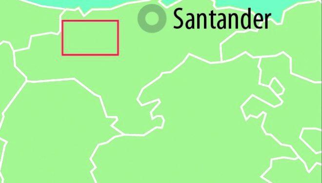 Mapa de situación de la ruta por el Robledal de Ucieda del Parque Natural de Saja y Besaya. Cantabria  ()