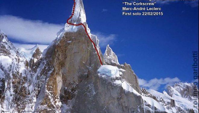Línea de la ruta The Corkscrew al Cerro Torre (Rolando Garibotti)